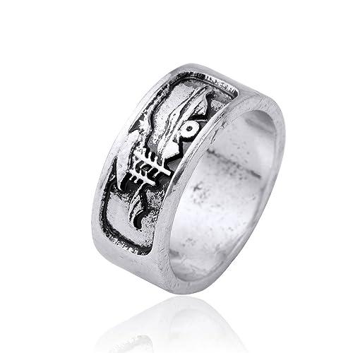 Amanecer Montaña Barco de vela estilo gótico amuleto Rune Punk hombres anillos de boda (tamaño
