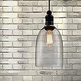 Minimalist Glass Chandelier, MKLOT Ecopower Retro Vintage Pendant Light Loft Style Hanging Lighting 6.30″ Wide Glass Shade Ceiling Lamp Pendent Fixture 1 Light