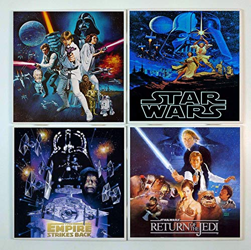 Star Wars Coasters - set of 4 tile coasters - movie, poster -