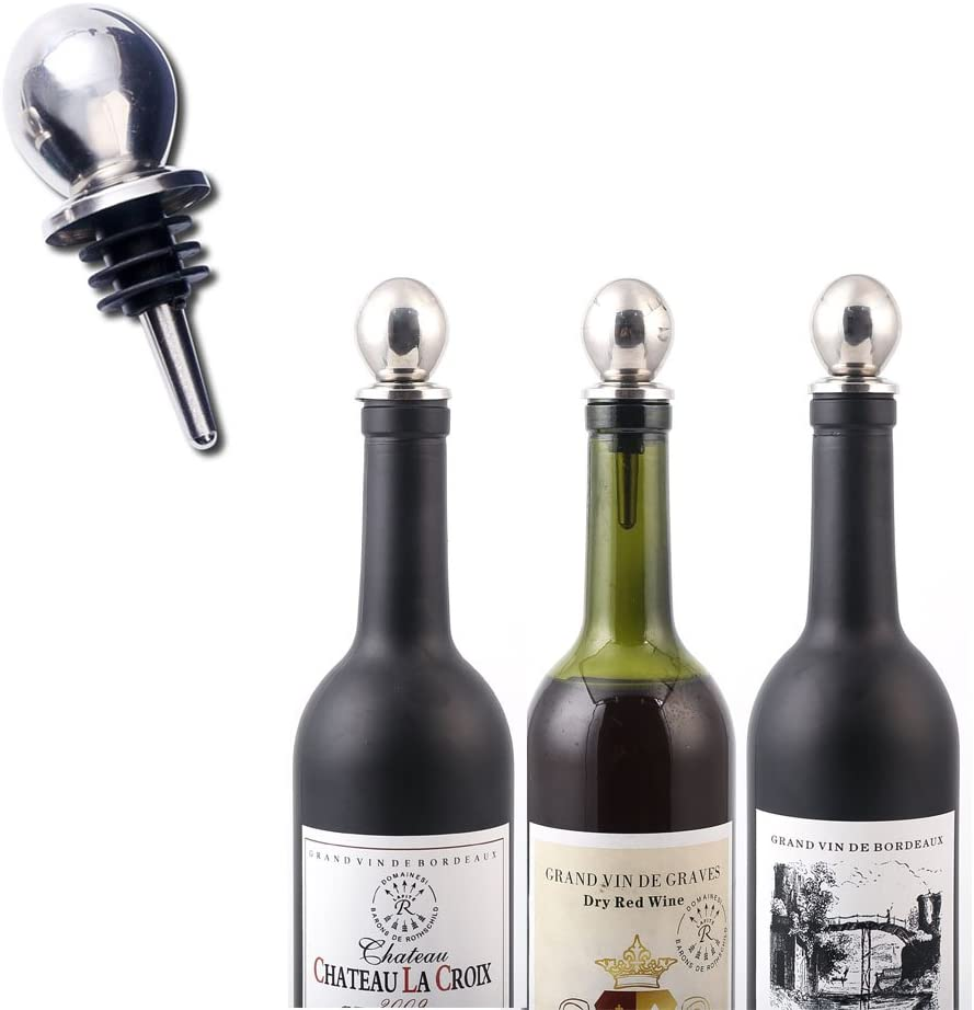 Pack of 3pcs Bottle Stopper for Wine Collection Red Wine Champagne Beer Saver Sealer Stainless Steel