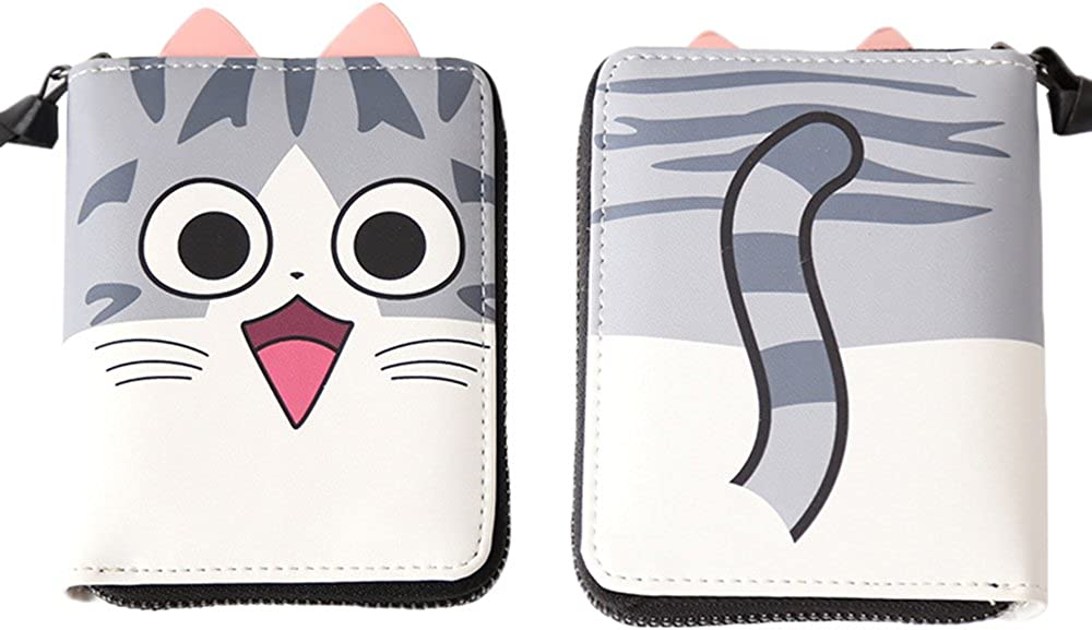 Rain's Pan Cartoon Anime Chi's Sweet Home Cosplay Cat Ear PU Short Bi-fold Waller Purse