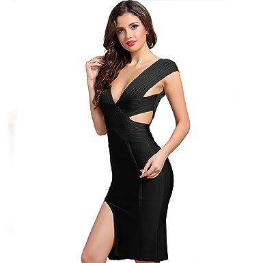 Women Bandage Dress Vestidos Spring Party Dress (Black, S)