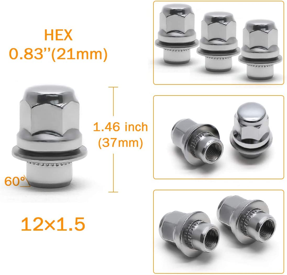 GAsupply Set of 20 Lug Nuts M12x1.5 Silver Chrome Mag Seat Lug Nuts/12x1.5 with Washer 1.46 Tall 0.83 Hex Compatible for Chrysler Toyota Lexus Vehicles