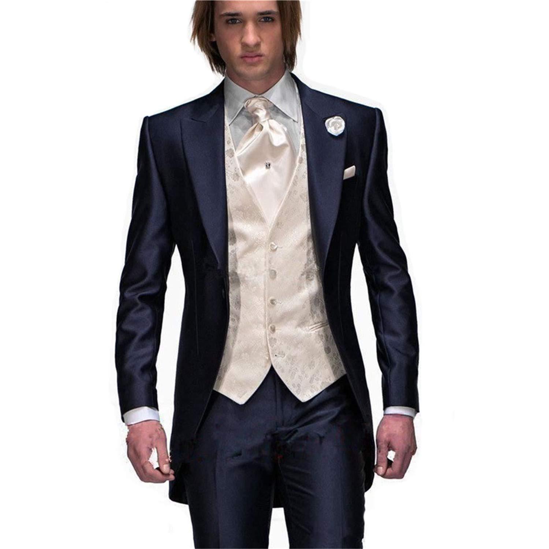 My S Men S Custom Made Groomsman Tuxedo Navy Blue Suit Pants Ivory