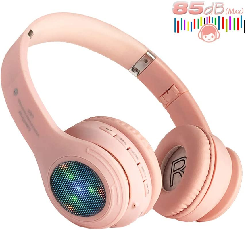 Kids Bluetooth Headphones, Girls LED Light Up Wireless Headset,85 dB Volume Limiting Foldable Headphones,Built-in Mic,Support FM Radio/Micro SD/TF,for iPhone/Tablet/iPad/Kindle/Laptop/TV(Pink)