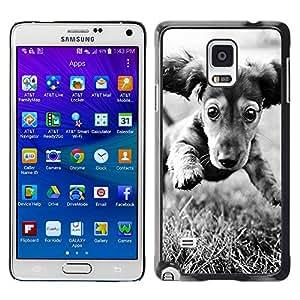 Vortex Accessory Hard Protective Case Skin Cover For Samsung Galaxy Note 4 [Sm-N910S / Sm-N910C] - Dachshund Doxie Puppy Dog Black White