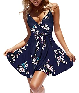 88f10426ef89 casuress Women Dress Summer V Neck Mini Floral Print Swing Dress Sleeveless  Spaghetti Strap Skater Dresses