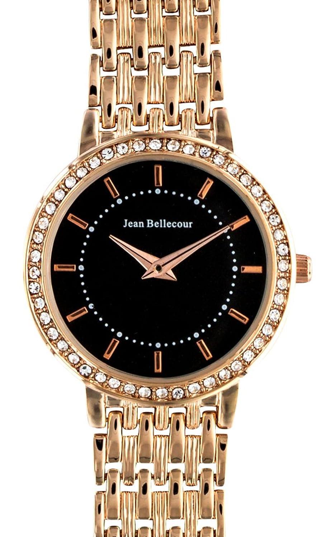Jean Bellecour – reds15-rgb Damen-Armbanduhr – Quarz Analog – Zifferblatt schwarz Armband Stahl vergoldet rosa