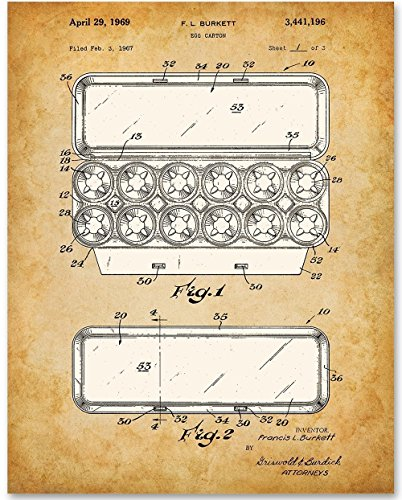 Egg Carton - 11x14 Unframed Patent Print - Great for Urban Chicken Farmers