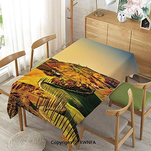 Tuscany Rectangular Table - Homenon Decorative Rectangular Table Cloth,Tuscany Crete Senesi Rural Landscape Cypress Trees Country Farmland Europe Decorative,Spillproof Modern Printed,Marigold Green Blue,52
