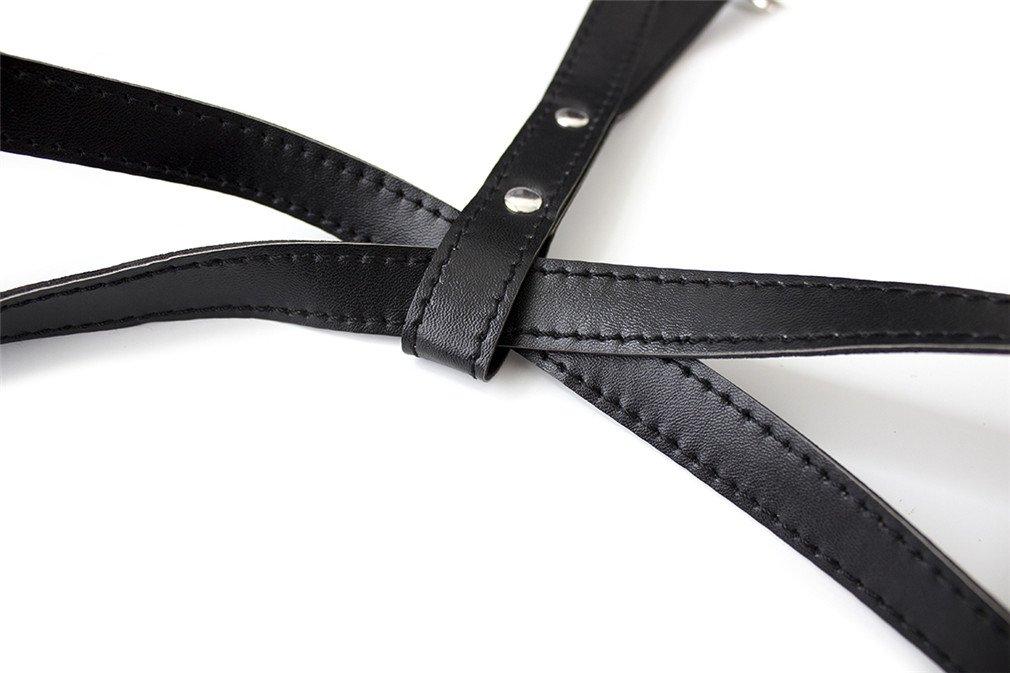 Wiftly Harness Bondage K/örper Halskette Br/üste Harness mit Nipple Paste Frauen Herren PU Leder Orgasmus Lesben Schwule S/&M Fetischismus Einstellbar Erotische BH Set