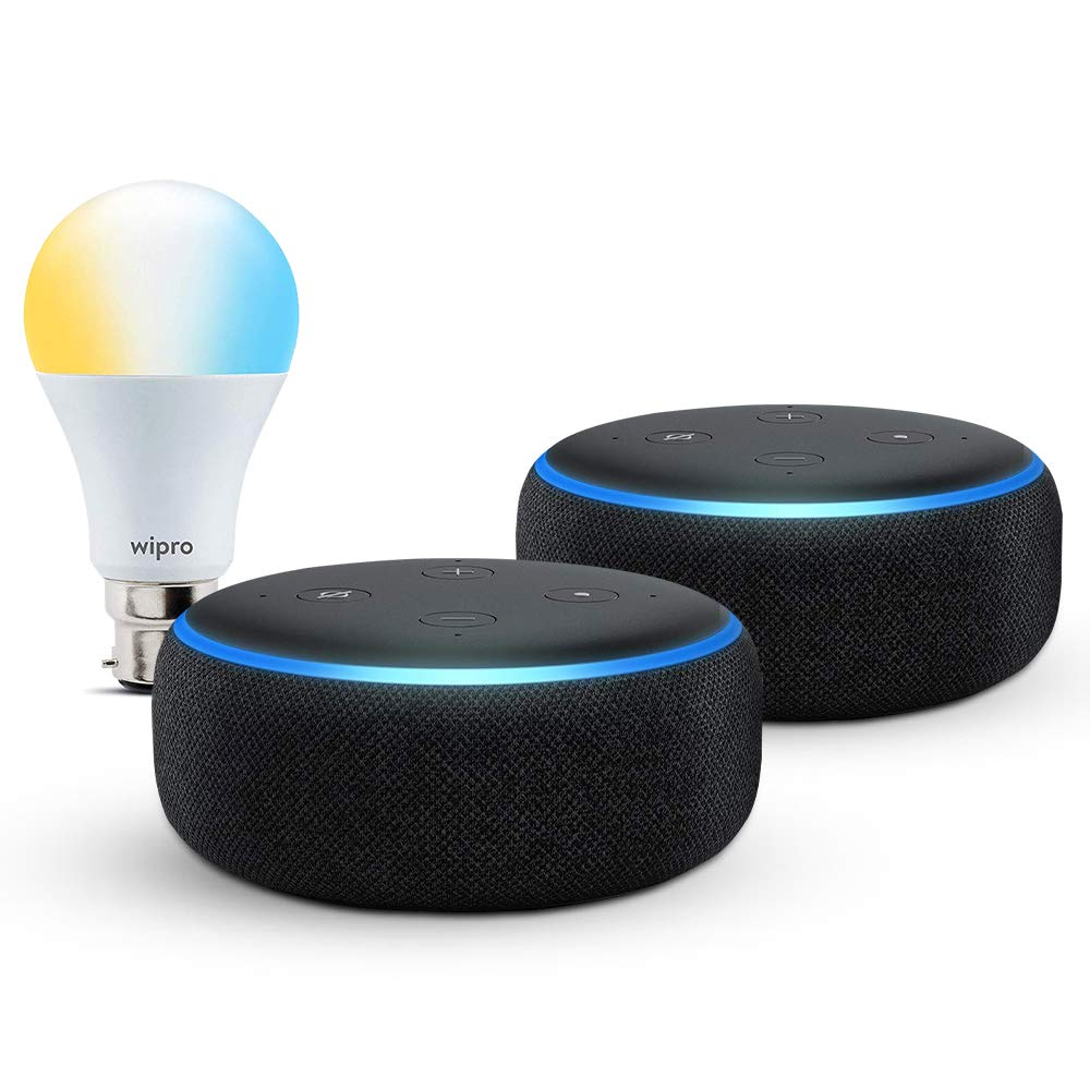 [Apply coupon] Echo Dot gift twin pack (Black) with Wipro smart white bulb