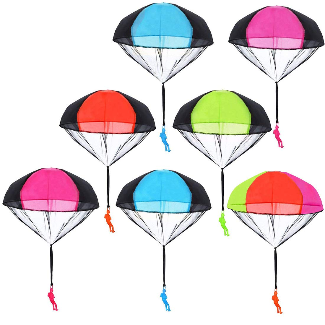 Huihui Decoration 7 Pieces Parachute Toys,Tangle Free Parachute Men Throwing Hand Throw Soldiers Toss It Up and Watching Landing Outdoor Parachute for Kids