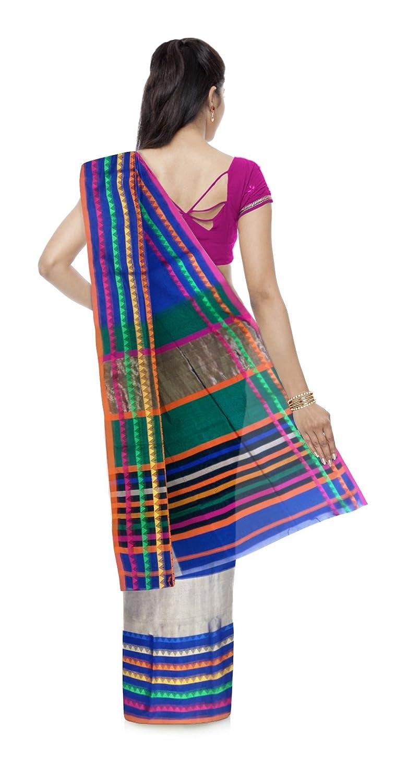 Blue Color Maheshwari Cotton & Silk Saree With Blouse Piece