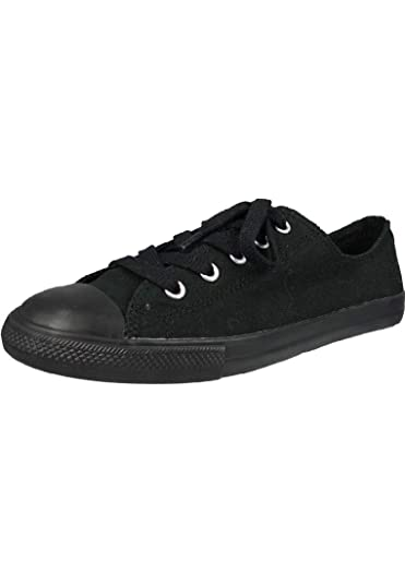 377ab1452c91 Converse Women s All Star Dainty Ox Canvas Lace-Up Trainer Monochrome Black- Black-