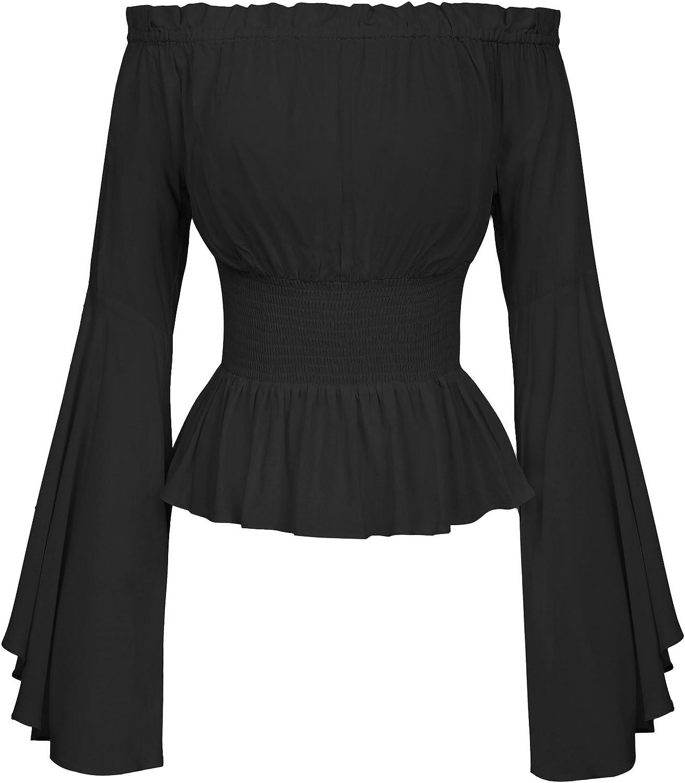 Belle Poque Blusa gótica para Mujer Blusa Medieval Blusas de Manga Larga