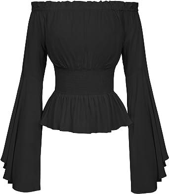 Belle Poque Blusa gótica para Mujer Blusa Medieval Blusas de Manga Larga: Amazon.es: Ropa y accesorios