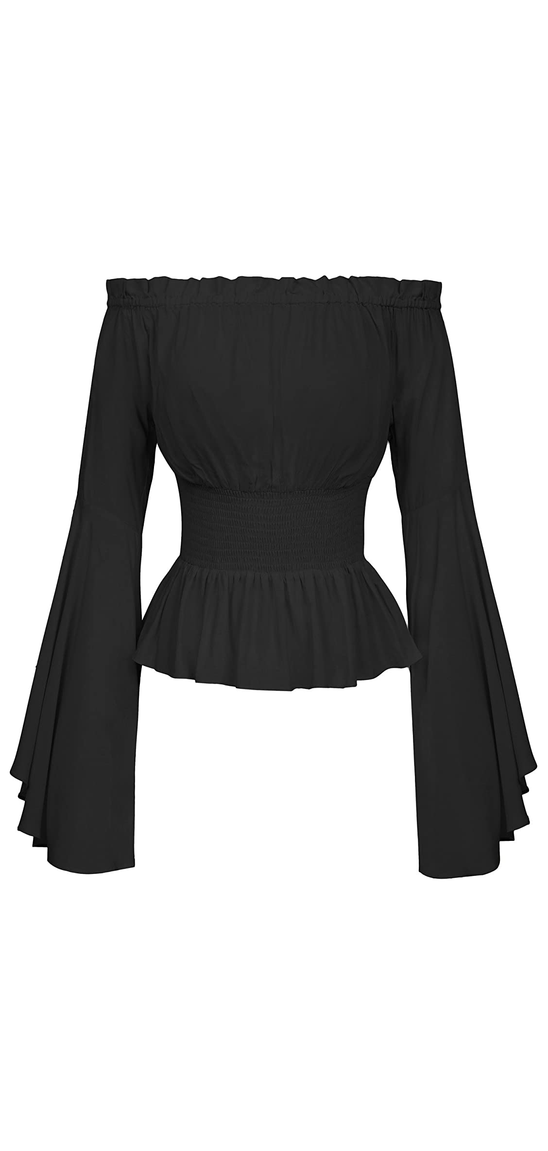 Womens Renaissance Gothic Blouse Bell Sleeves Ruffle