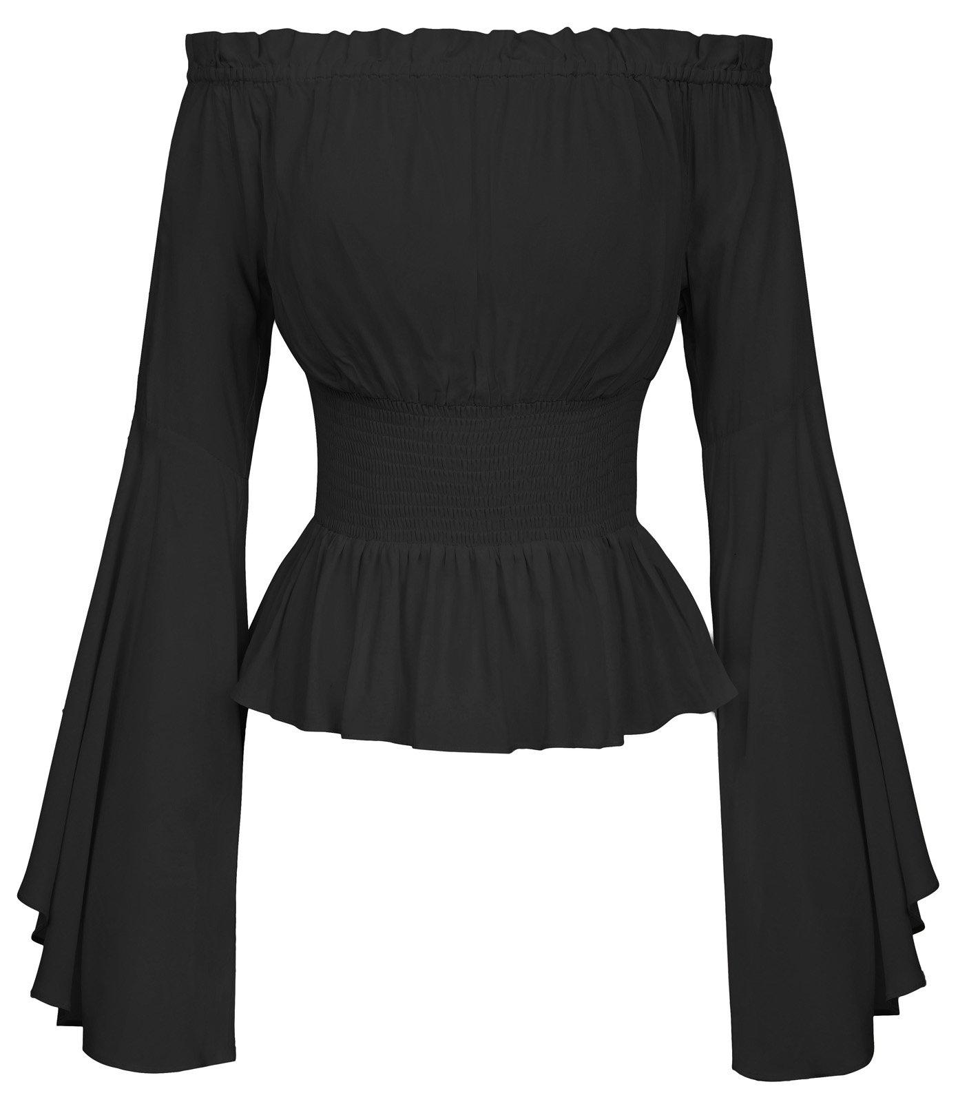 Women's Bell Sleeve Ruffle Smocked Off Shoulder Boho Top BP468-1 S Black