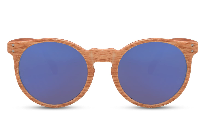 9853e1f2c70c49 ... Cheapass Sonnenbrille Holz Runde Gläser Vintage Plastik Damen Herren  82311 ...