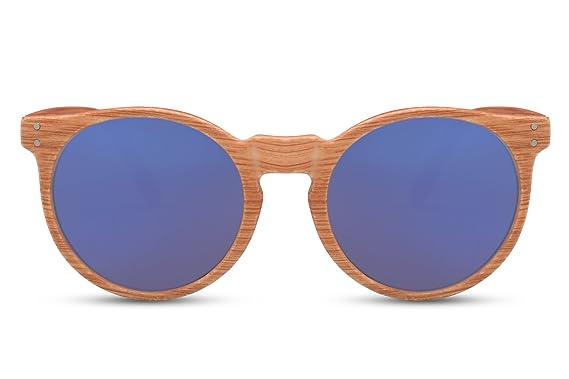 0762f18506 Cheapass Lunettes de Soleil de Bois Rondes Marron Bleu Reflétées UV-400  Rétro Vintage Hommes