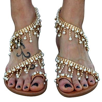 c1c94127eff Amazon.com | Kindsells 2019 Vintage Boho Sandals Women Leather Artificial  Pearl Beading Flat Beach Sandals Shoes | Flats