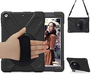 BRAECN iPad 6th & 5th Gen case,iPad 9.7 case,iPad 2018/2017 case,Three Layer Heavy Duty Soft Silicone Hard Bumper Shockproof Durable Rugged Kids Case with Kickstand/Hand Strap/Shoulder Strap-Black