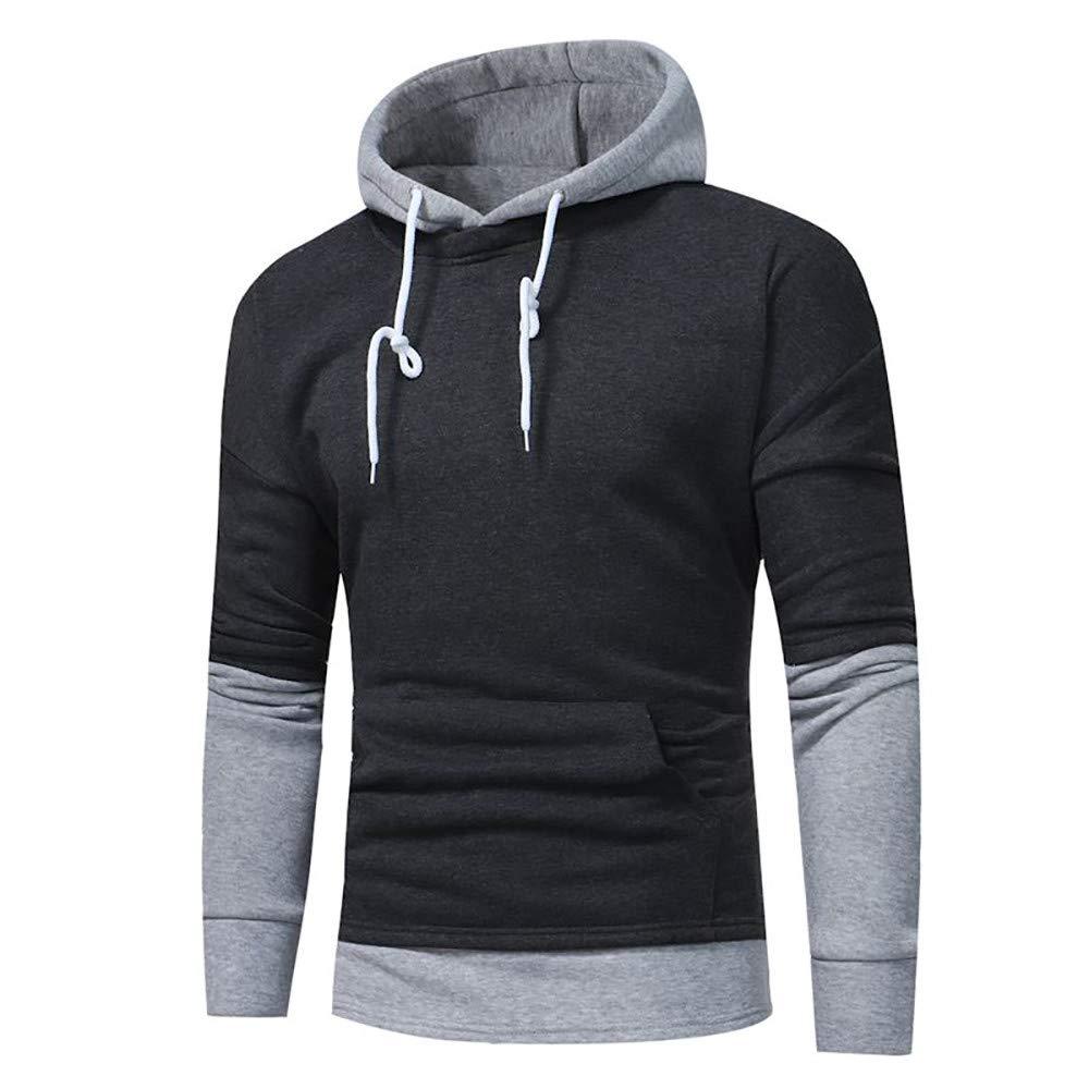 Kemilove 2018 New Mens' Long Sleeve Patchwork Hoodie Hooded Sweatshirt Tops Warm Outwear Blouse by Kemilove (Image #3)