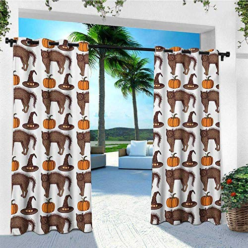 leinuoyi Halloween, Porch Curtains Outdoor Waterproof, Seasonal Vintage Pattern with Pumpkin Squash Witch Hats and Cat Figures, Outdoor Patio Curtains W72 x L96 Inch Brown Orange Green