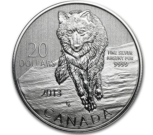 (2013 Canadian $20 for $20 Fine Silver Coin-Wolf)