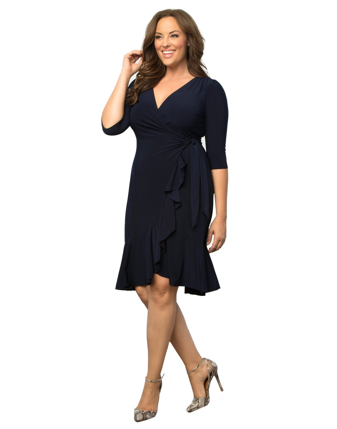 Kiyonna Women's Plus Size Whimsy Wrap Dress 0X Navy Blue