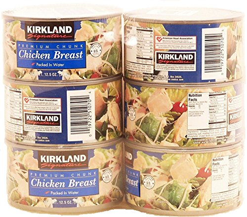 Kirkland Signature Premium Chunk Chicken Breast Packed in Water, 12.5 Ounce, 6...