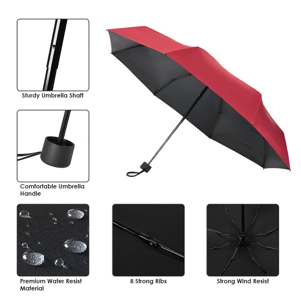 Prodigen Travel Mini Umbrella Windproof UV Folding Compact Umbrella Portable Lightweight Sun /& Rain Umbrellas for Women and Men