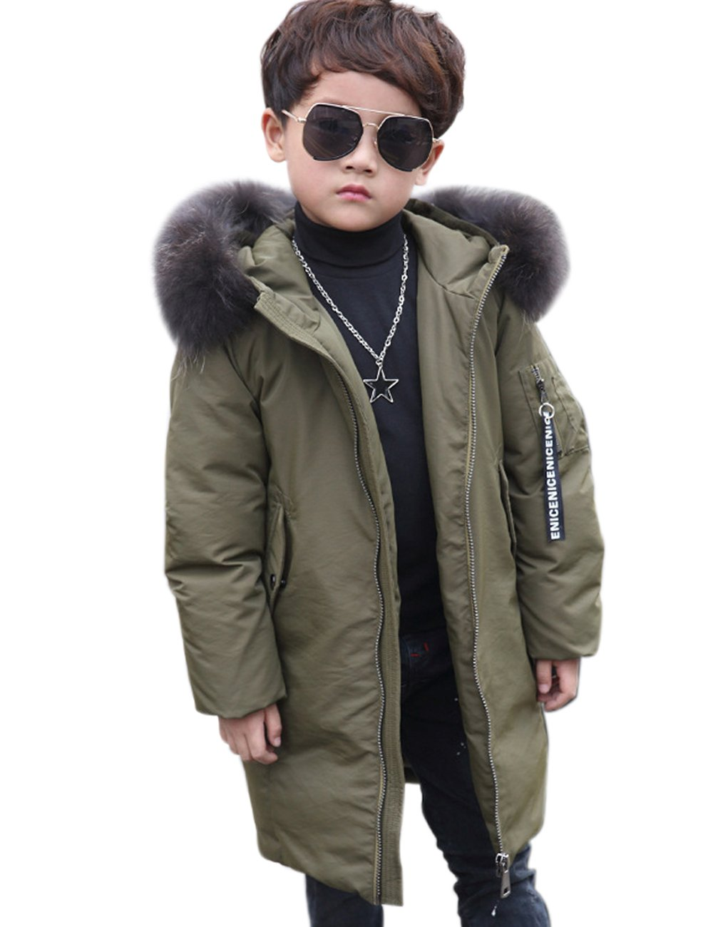Menschwear Boy's Down Fur Hooded Jacket Winter Warm Outwear Winter Coat (140,Army-Green)