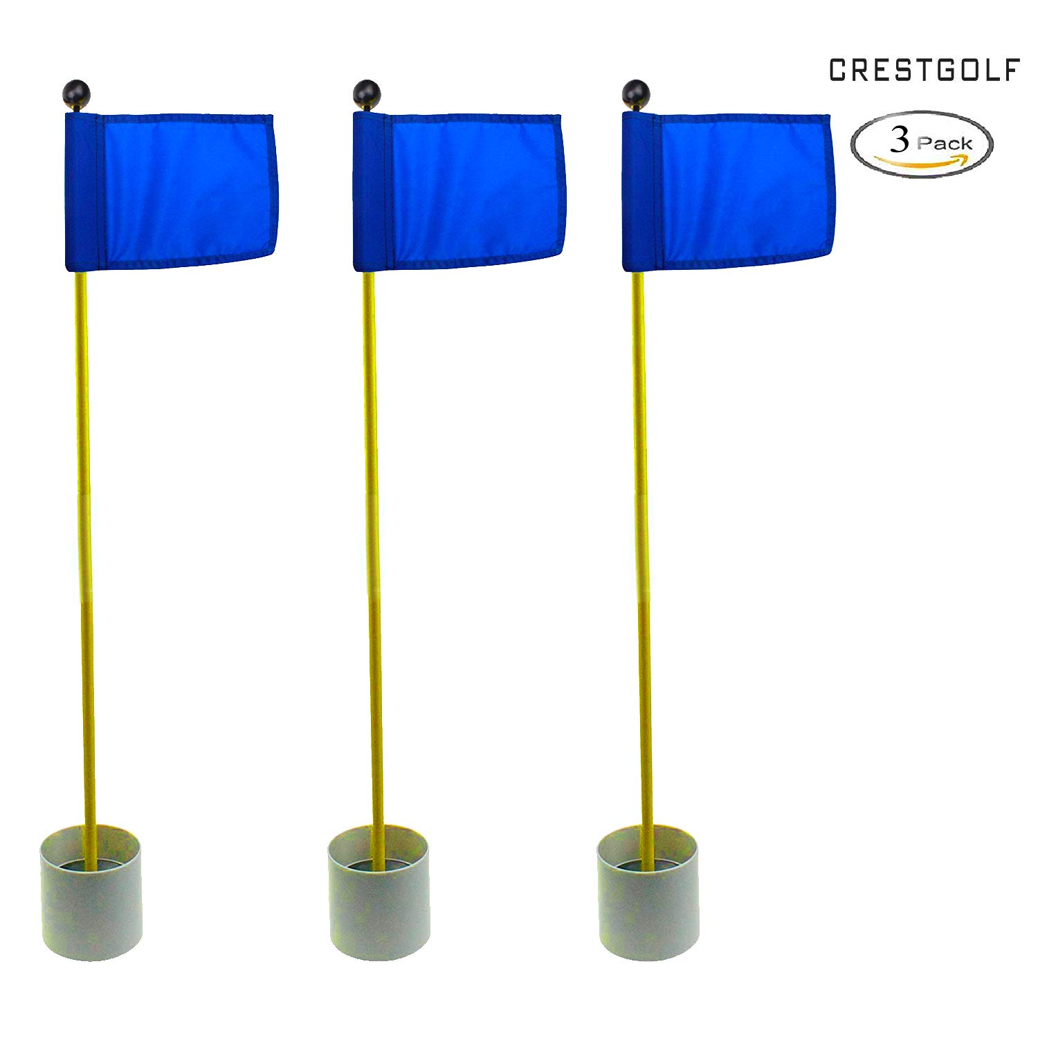 CRESTGOLF 3Sets Backyard Practice Golf Hole Pole Cup Flag Stick, 3 Section,Golf Putting Green Flagstick (blue)