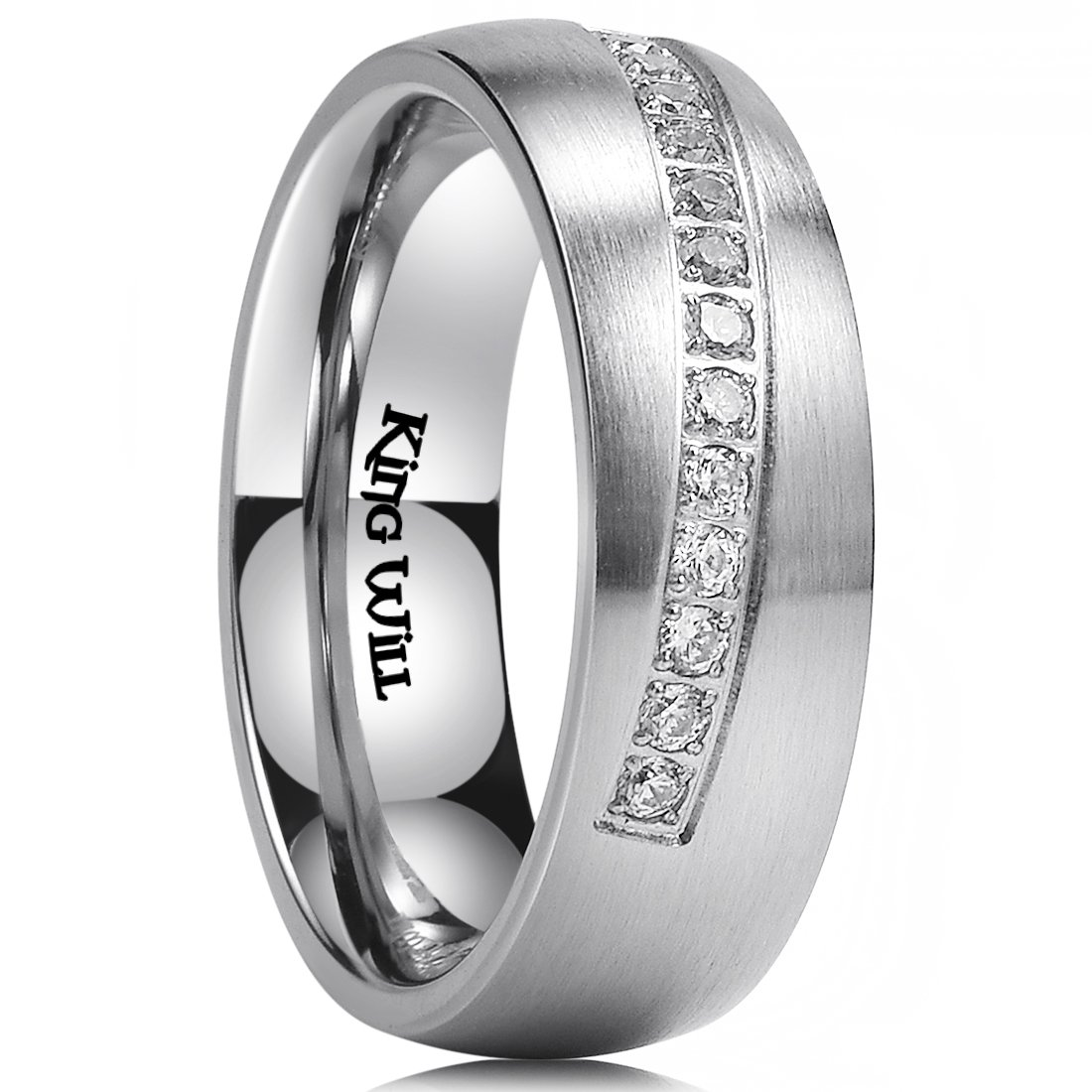 King Will 8mm Mens Stainless Steel Wedding Ring Inlay with 14 Cubic-zircons Matte Finish Dome Style 10.5