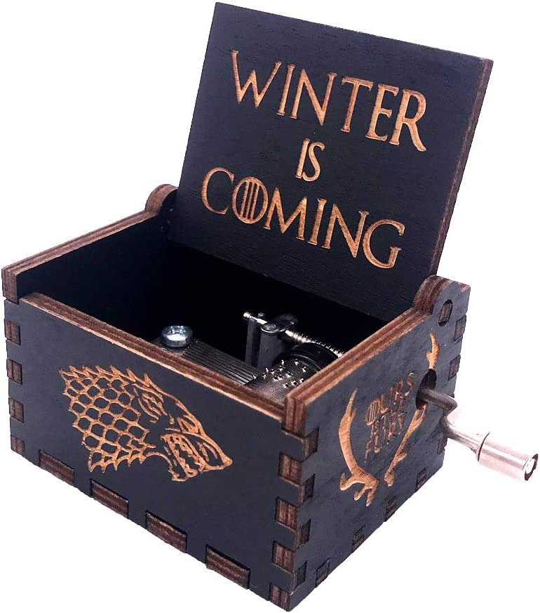 Game of Thrones Music Box Hand Crank Musical Box Carved Wooden Boxes Mini Size Home Decor, Christmas Valentine's Day