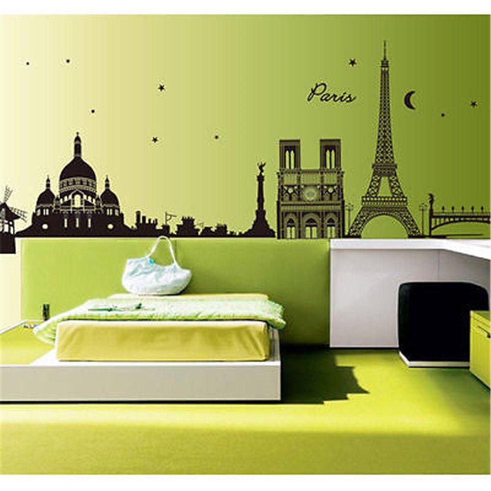 Amazon.com: Paris Night Eiffel Tower Wall Stickers DIY Mural Art ...