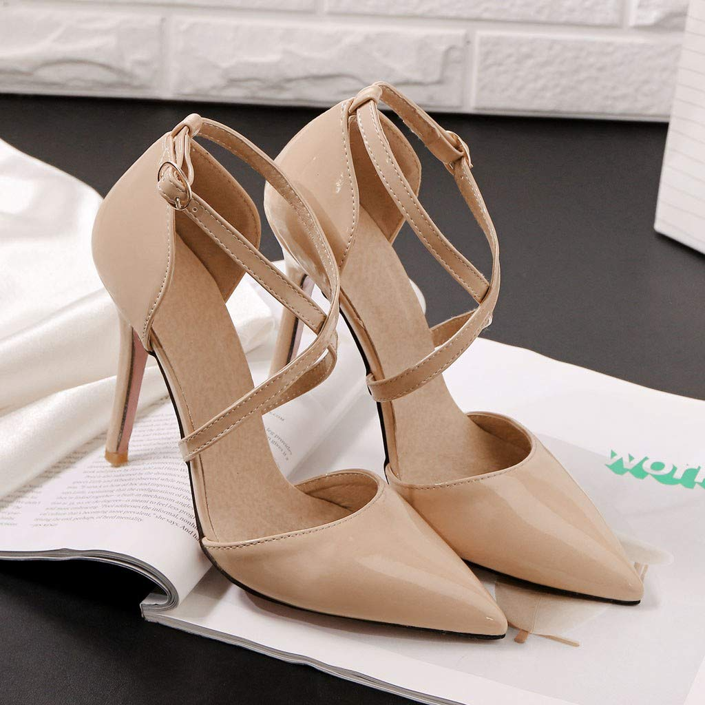 Heeled Sandals for Women Ankle Strap,FAPIZI Lady Round Toe Shoes Cross Bandage High Heel Non-Slip Sandals Beige by FAPIZI Women Shoes (Image #3)
