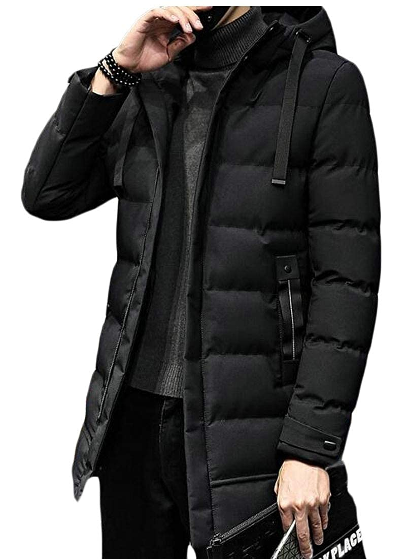 WSPLYSPJY Mens Winter Zipper Hooded Down Puffer Jacket Hoodie Coat