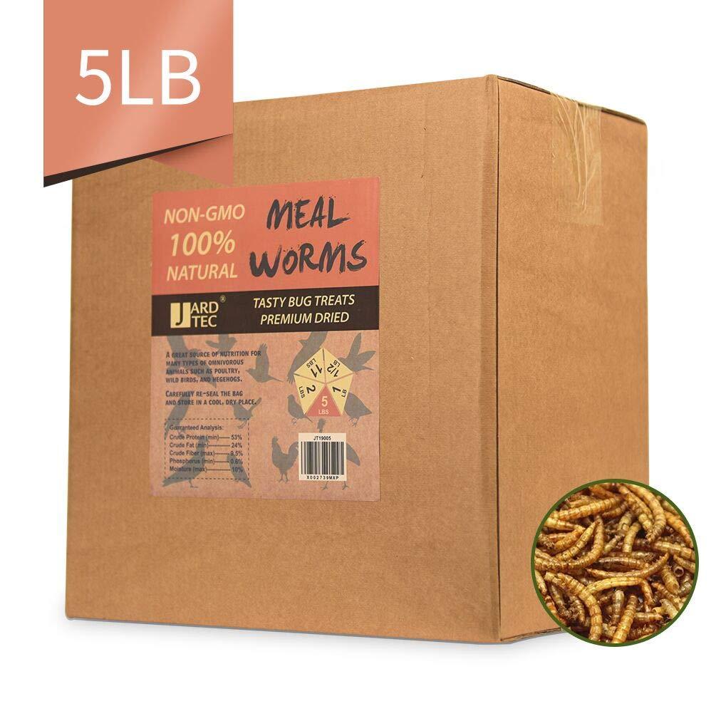 JARDTEC Non-GMO Dried Mealworms - 100% Natural Treats for Birds Chickens Hedgehog Hamster Fish Reptile Turtles, 5 lb by JARDTEC