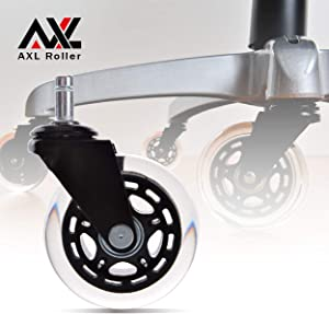 AXL 3 inch Office Chair Caster Wheels Replacement PU Style Caster, Desk Chair Floor Protector, No Noise, Safe for All Hardwood Floors (Black/Clear/Set of 5)