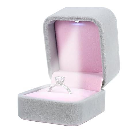 Amazon.com: Housweety joyas caja de regalo de terciopelo con ...