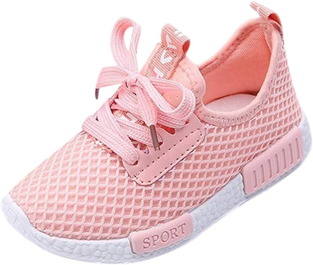 Boys Girls Lightweight Running Shoes Mesh Breathable Trainers Non-Slip Walking Shoe Kids Breathable Knit Sneakers