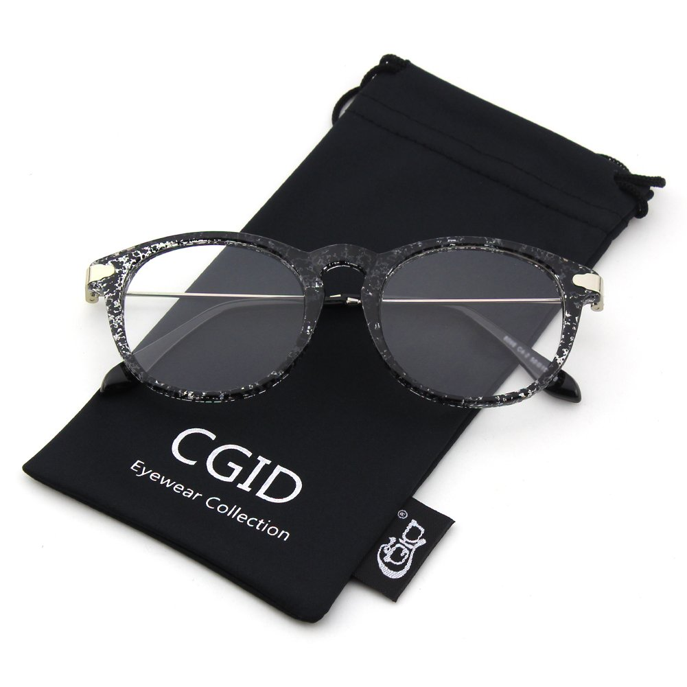 Happy Store CN88 Fashion Keyhole Metal Temple Oval Horn Rimmed Clear Lens Glasses, Transparent CGID N1411FBA88A7