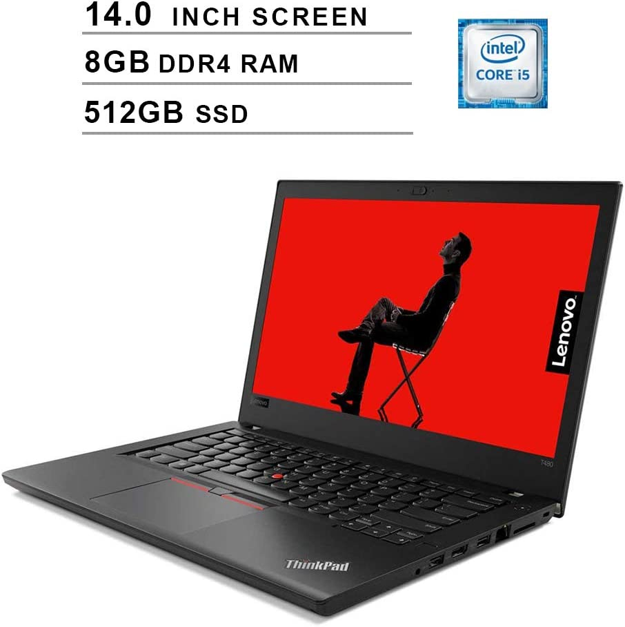 Lenovo Premium ThinkPad T480 14 Inch Flagship Business Laptop (Intel Core i5-7200U, 8GB DDR4 RAM, 512GB SSD, Fingerprint Reader, Webcam, Bluetooth, Windows 10 Home)