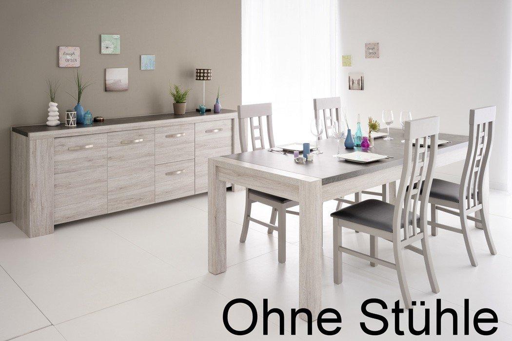 Esszimmer Marten 6 Grau Steinoptik Tisch Sideboard Esstisch