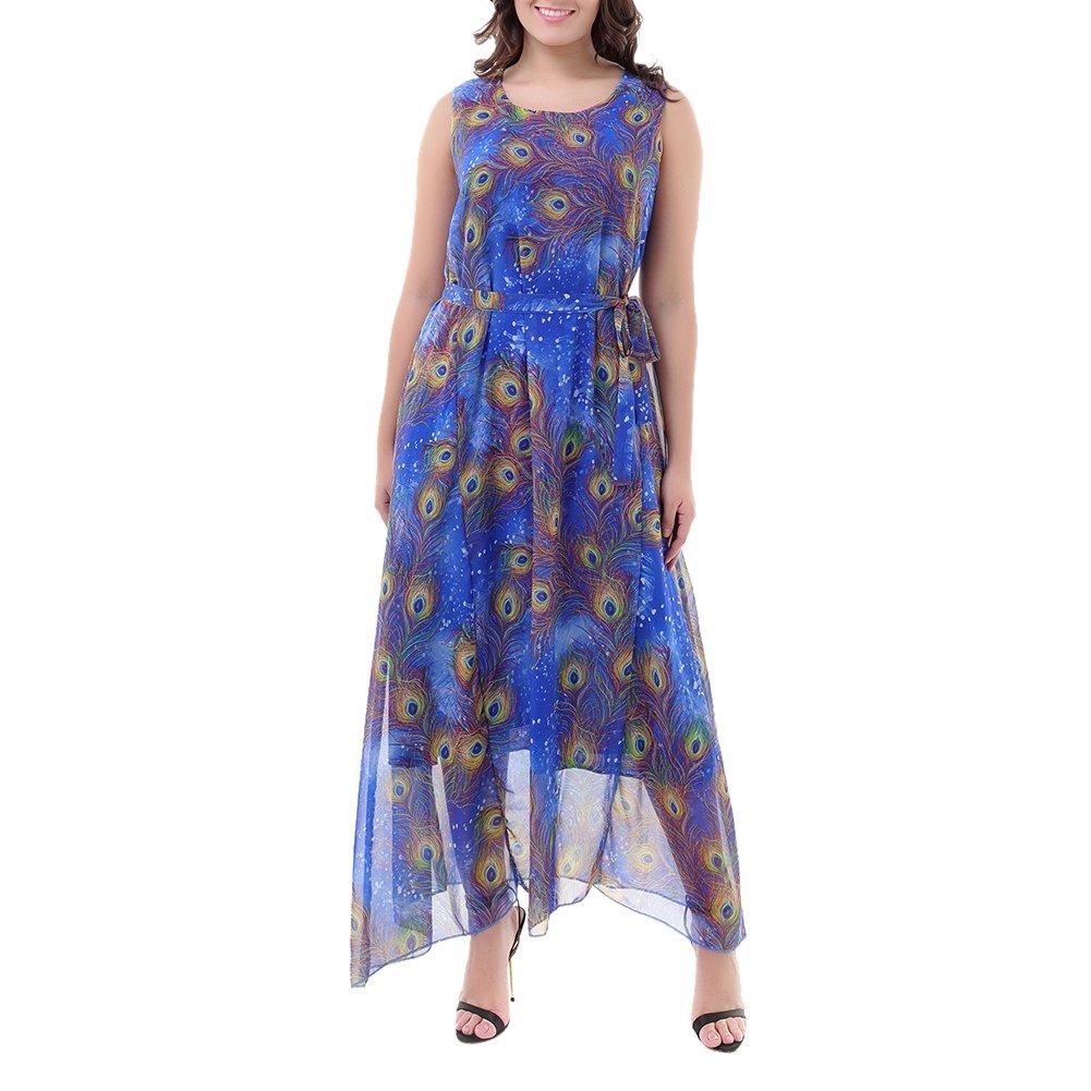ishine Übergröße Damen Maxikleid Lang Sommerkleid Ärmellose Strandkleid Boho Kleid Plus Size Partykleid