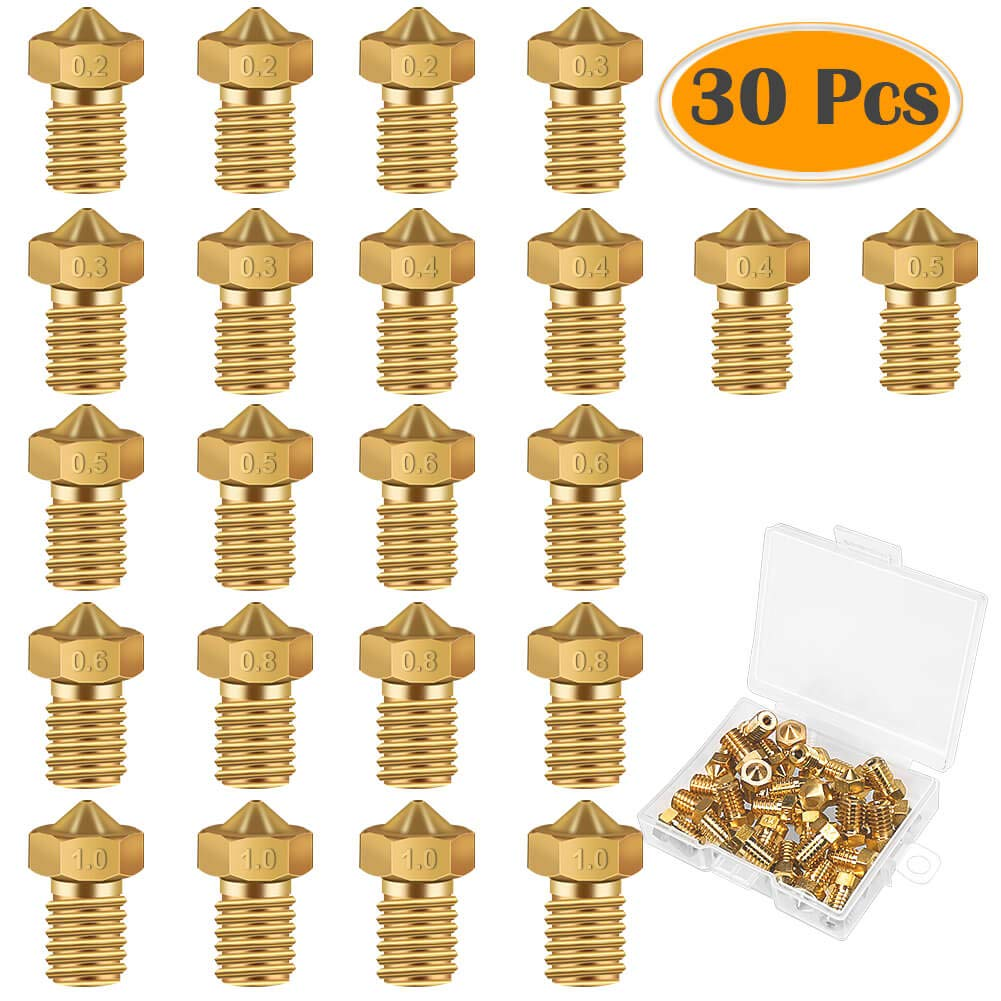 Anezus 30 Pieces 3D Printer Brass Extruder Nozzle 0.2 mm, 0.3 mm, 0.4 mm, 0.5 mm, 0.6 mm, 0.8 mm, 1.0 mm for 1.75mm Filament 3D Printer E3D Makerbot Mini
