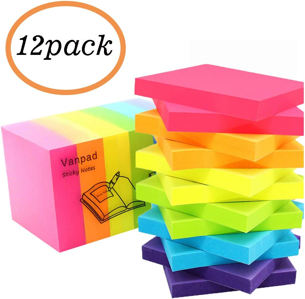 Vanpad Sticky Notes 3x3 Inches,Bright Colors Self-Stick Pads, Easy To Post for Home, Office, Notebook. 100 Sheets/Pad,12 Pads,1200 Sheet